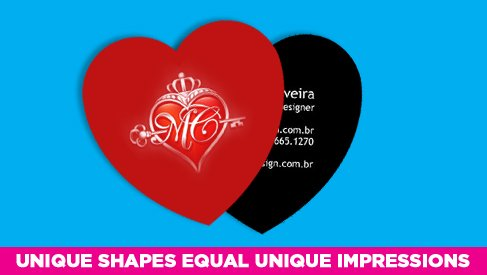 Heart shaped business card printed full color printpapa for Heart shaped business cards