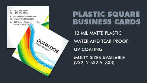 plastic square business card 3x3 inch printpapa. Black Bedroom Furniture Sets. Home Design Ideas