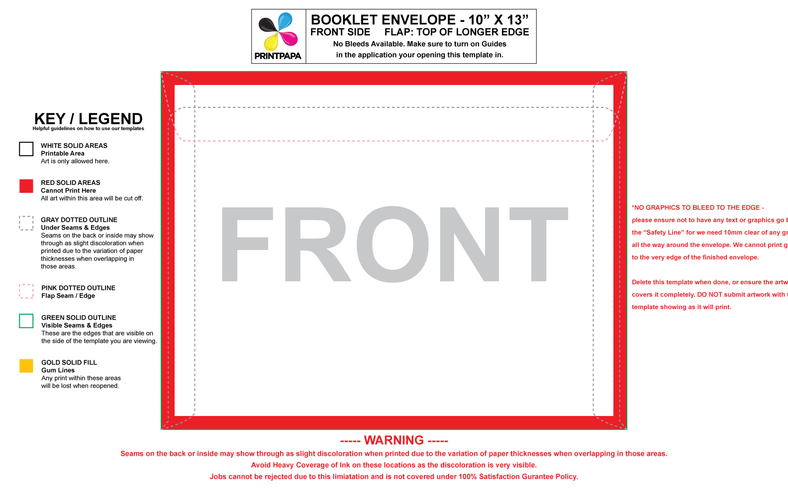 Find a printing template for 10x13 window envelope