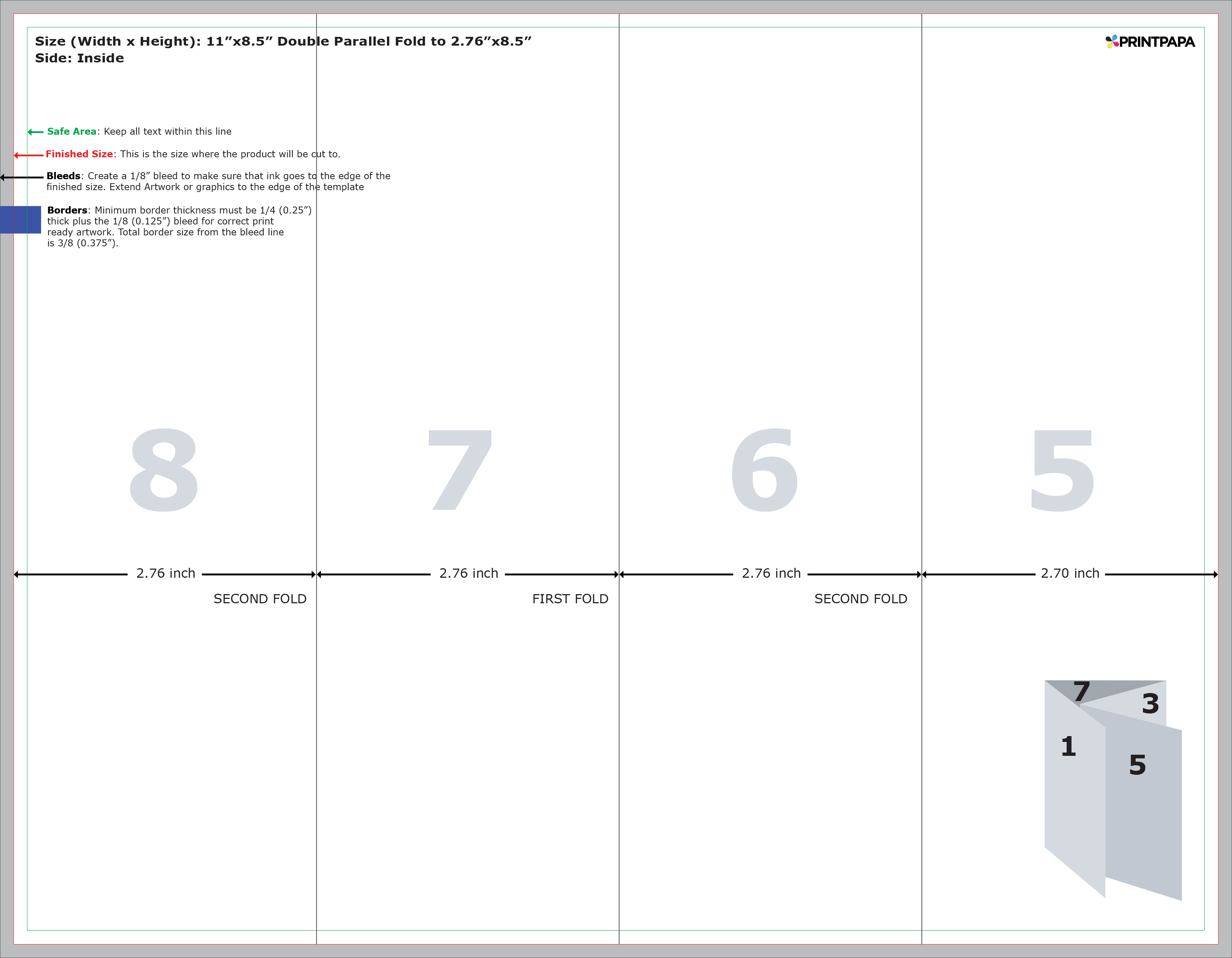 Find a printing template for Double parallel fold brochure template