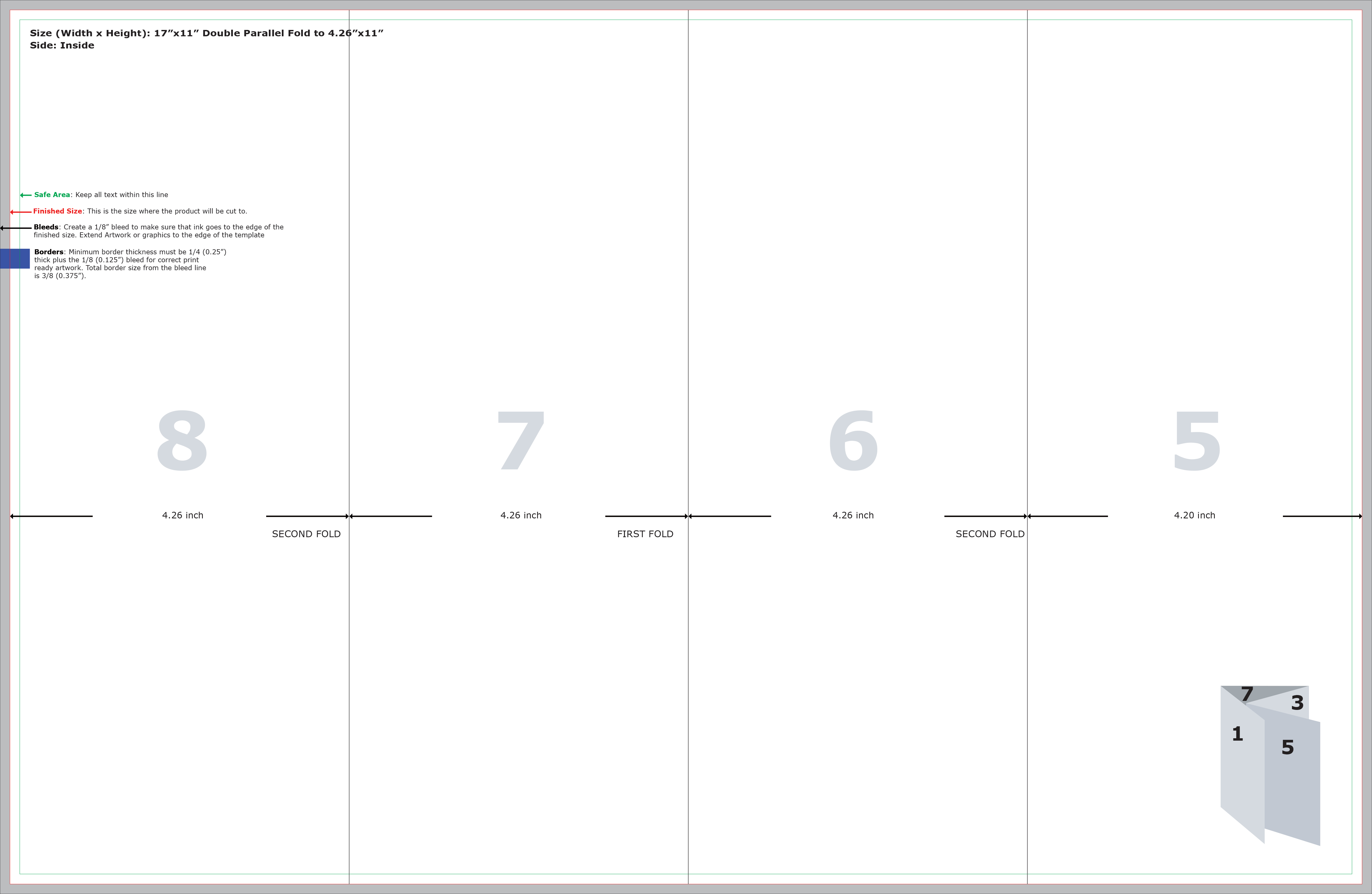 Double Parallel Fold Brochure Template Double Gate Fold Brochure. A2 ...