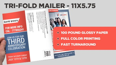 tri fold direct mail postcard 11x17 25 to 11x5 75 direct mail