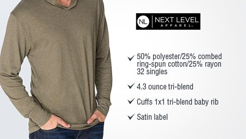 91e5c94f Next Level Apparel Unisex Tri-Blend Hoody. 6021 (PID: 15207). Be the First  one to Review