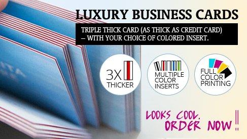 Triple thick luxury business cards slick size 35x15 printpapa video colourmoves