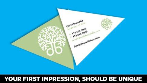 Traingle Shaped Business Card Printed Full Color Printpapa